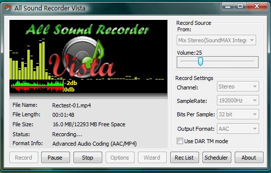 All Sound Recorder Vista screenshot